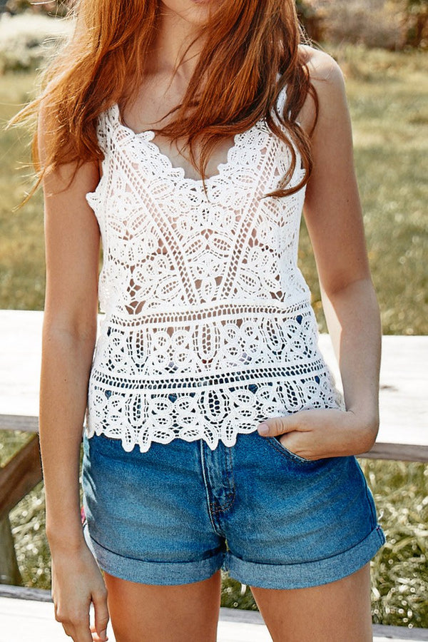 Hollow-out Lace Strap Cover Up