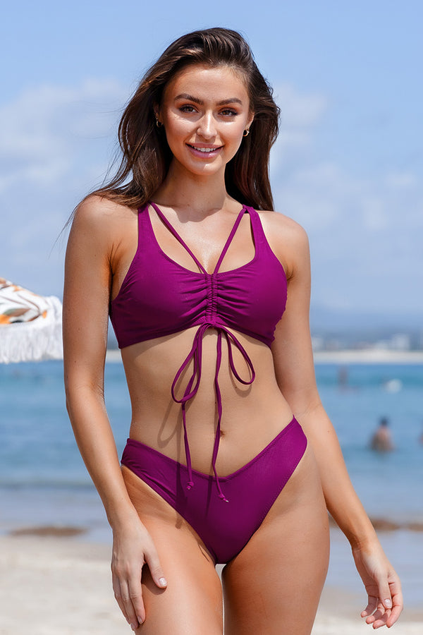 Purple Strappy Bikini Set