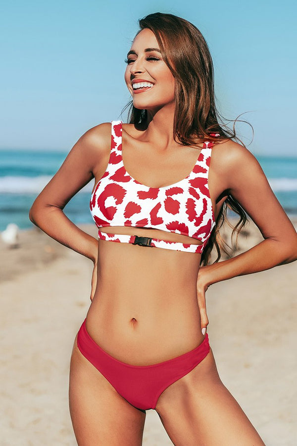 Red Leopard with Peekaboo Cutout Belted Bikini