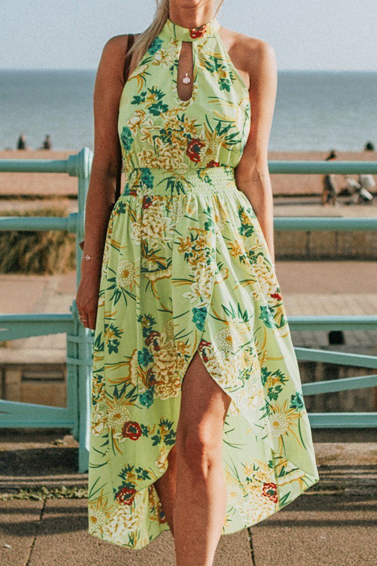 Green Floral High-Neck Midi Dress
