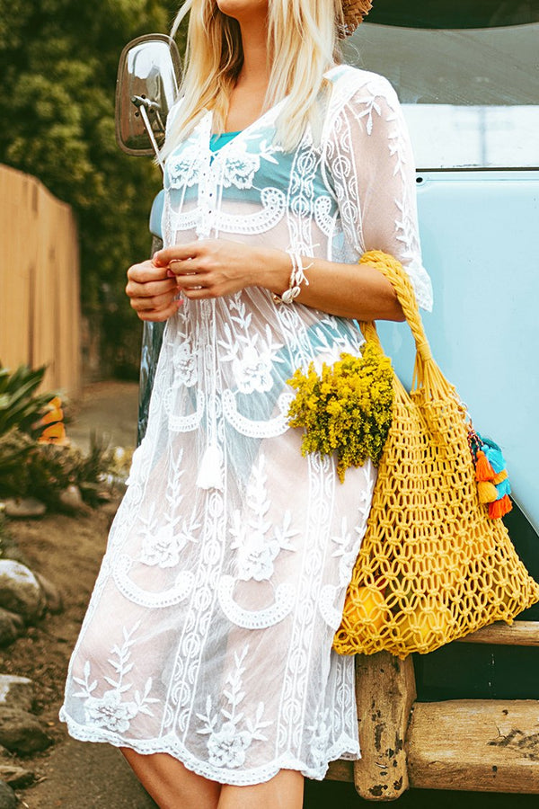 White Lace Midi Cover Up