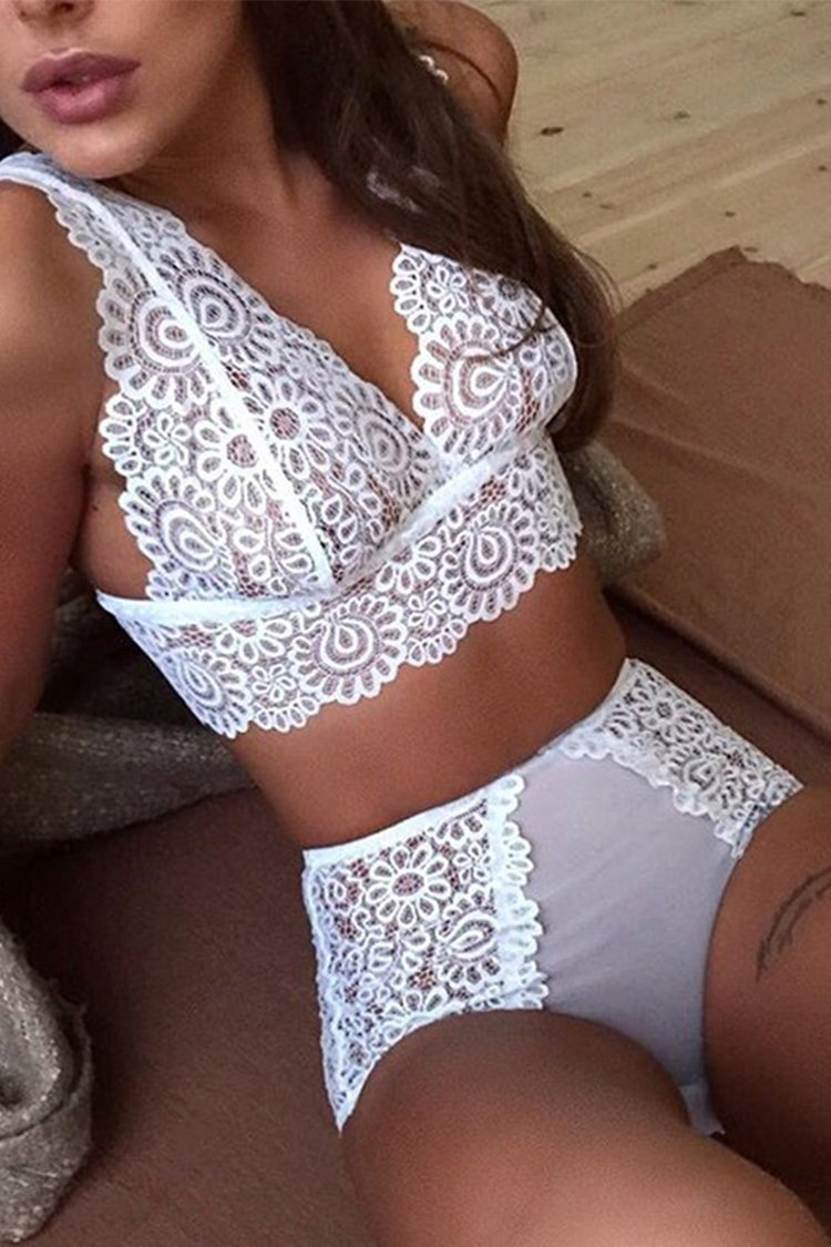 White Mesh And Lace Lingerie
