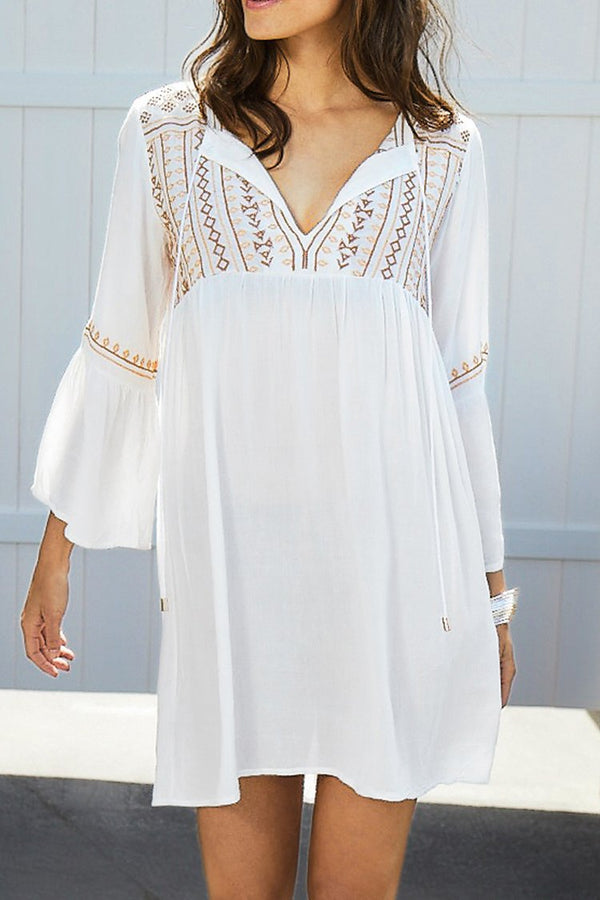 Sandy Beach Embroidery Dress
