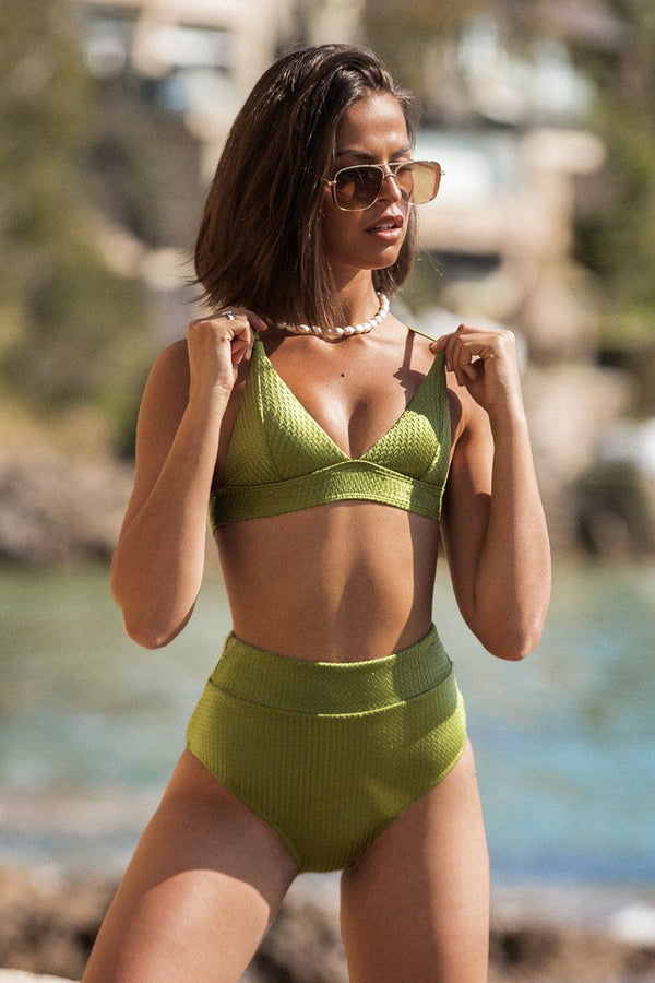 Green Textured Triangle Bikini Top