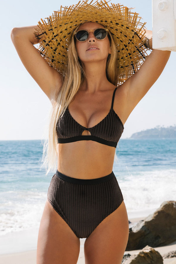 Dark Brown Smocked Bikini