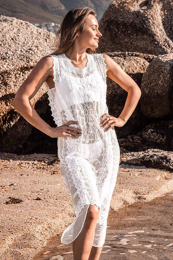 White Lace Sleeveless Long Cover Up