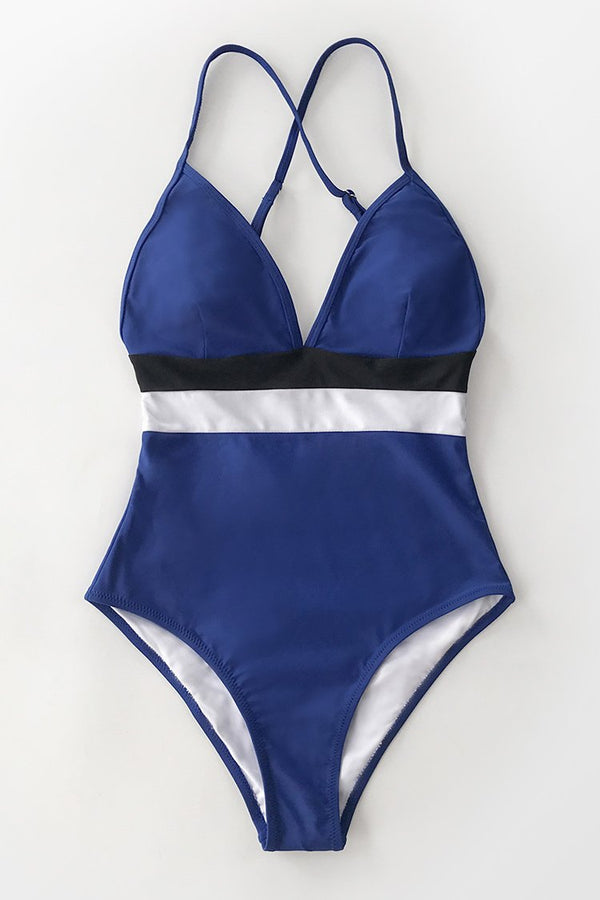 Colorblock V-neck Criss-Cross One-Piece Swimsuit