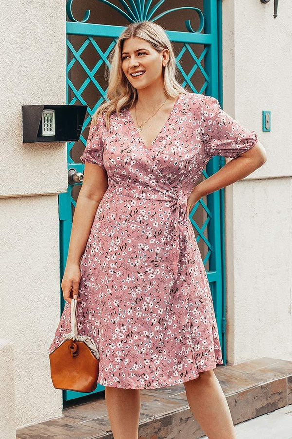Pink Floral Wrap Plus Size Dress