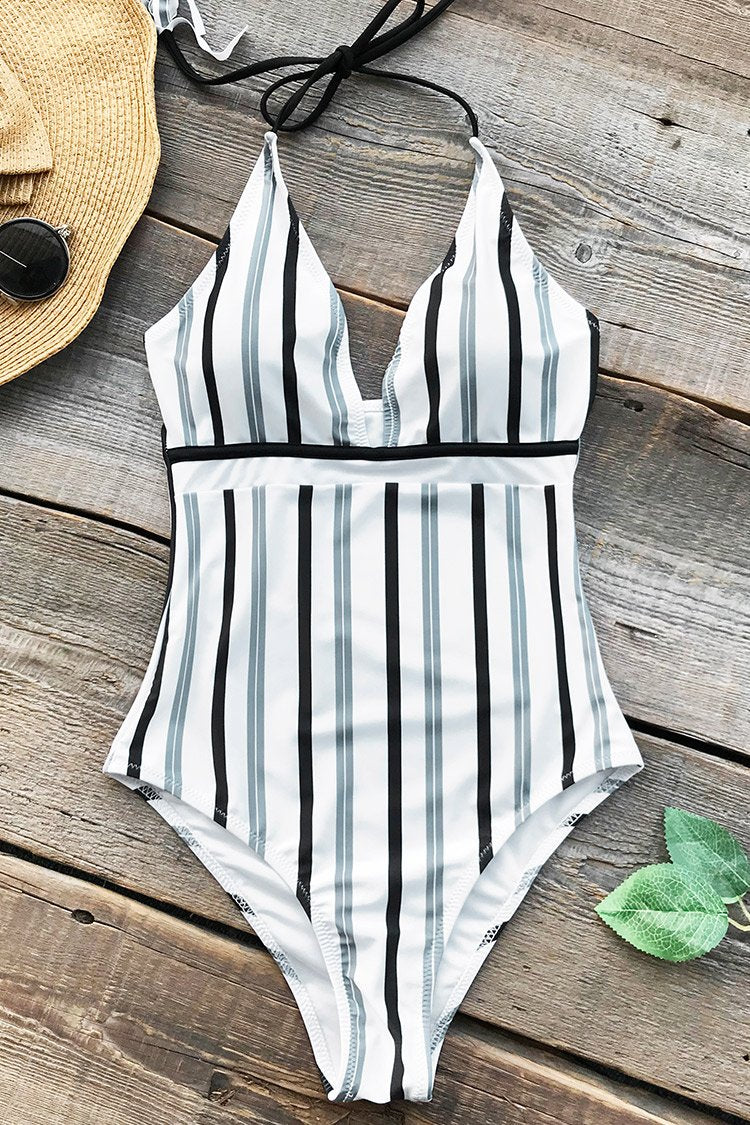 Ice and Snow Love Stripe One-piece Swimsuit