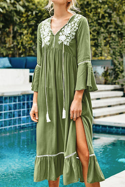 Sage Green Embroidered Midi Dress