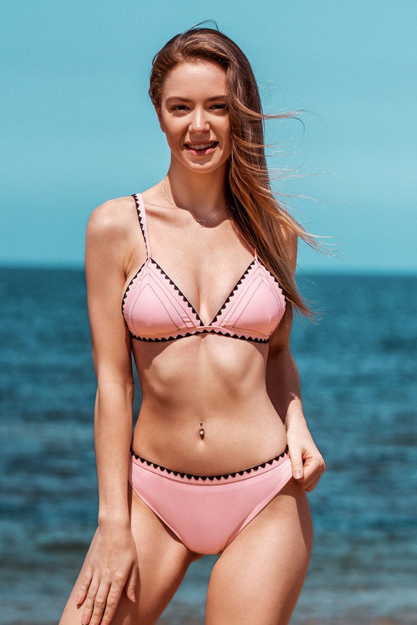 Pink and Black Crochet Trim Bikini