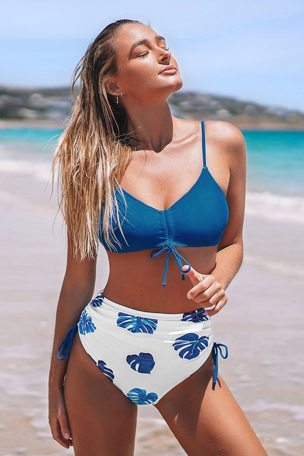 Blue and Palm Print High Waisted Bikini