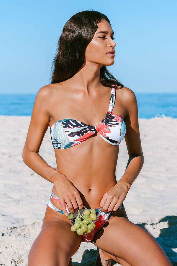 Marie Floral One Shoulder Bikini Top