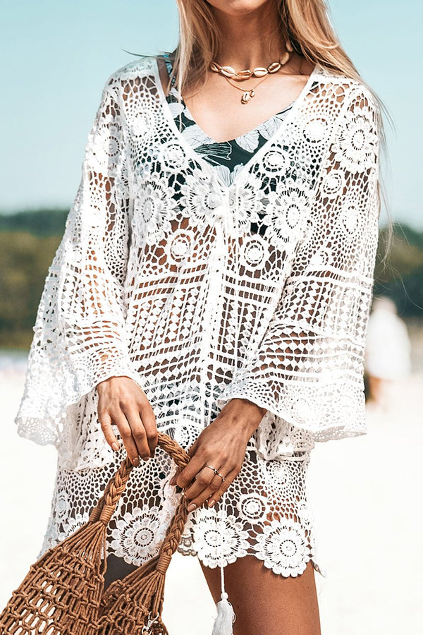 White Lace-Up Long Sleeve Cover Up