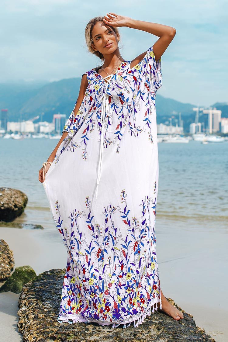 Floral Maxi Cover Up with Tassel Trim