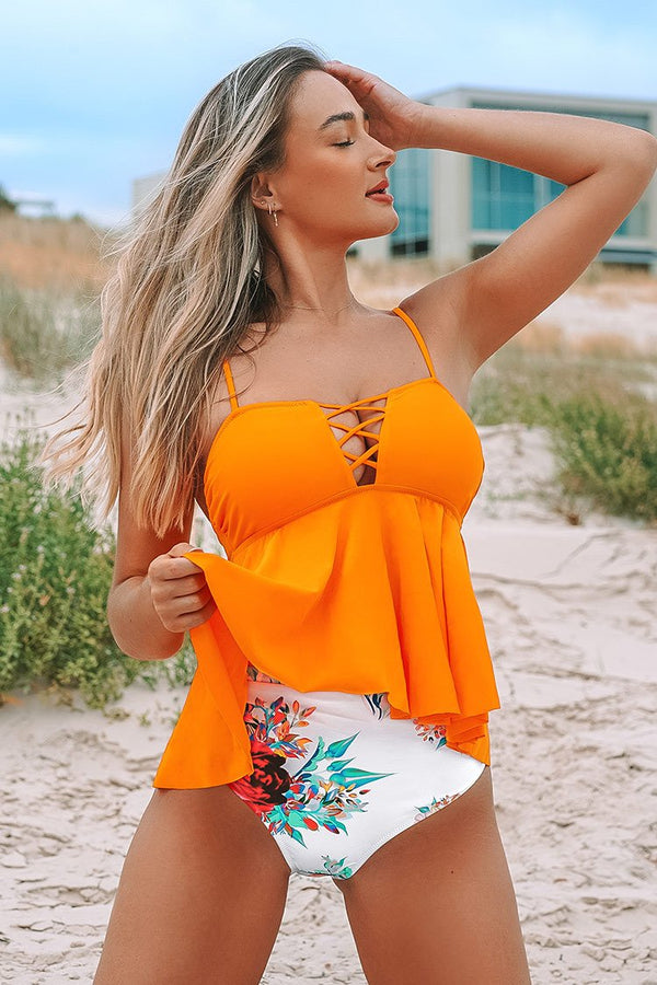 Orange Ruffled Tankini with Printed Bottom