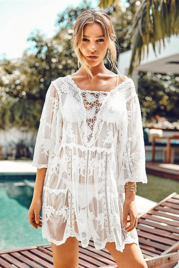 White Lace Floral Scallop Cover Up