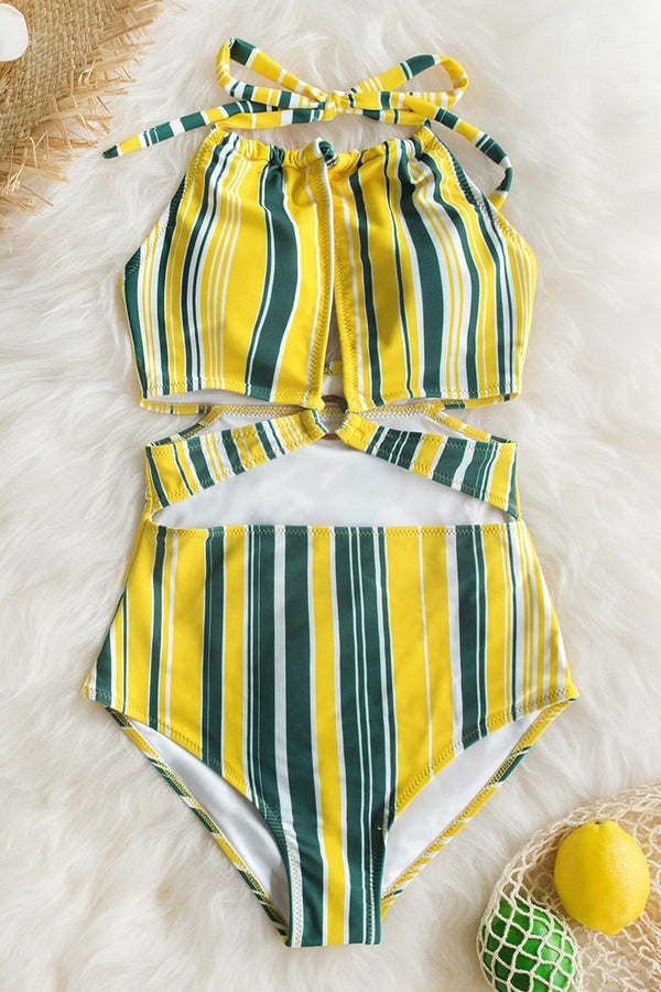 Yellow Gray and White Stripe Print One Piece Swimsuit