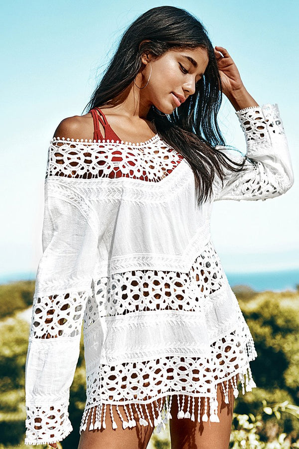 White Tassel Trim Hollow Out Cover Up