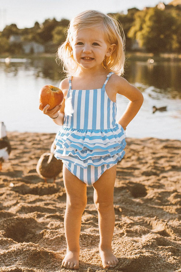 Blue and White Stripe One Piece Swimsuit For Toddler Girls and Girls