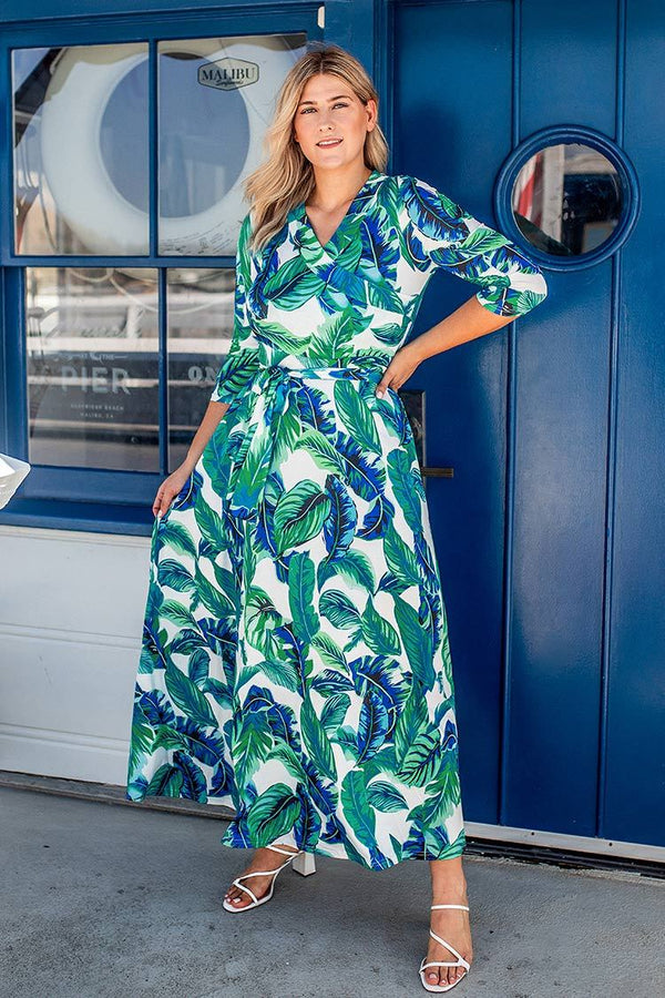 Leafy Print Plus Size Dress