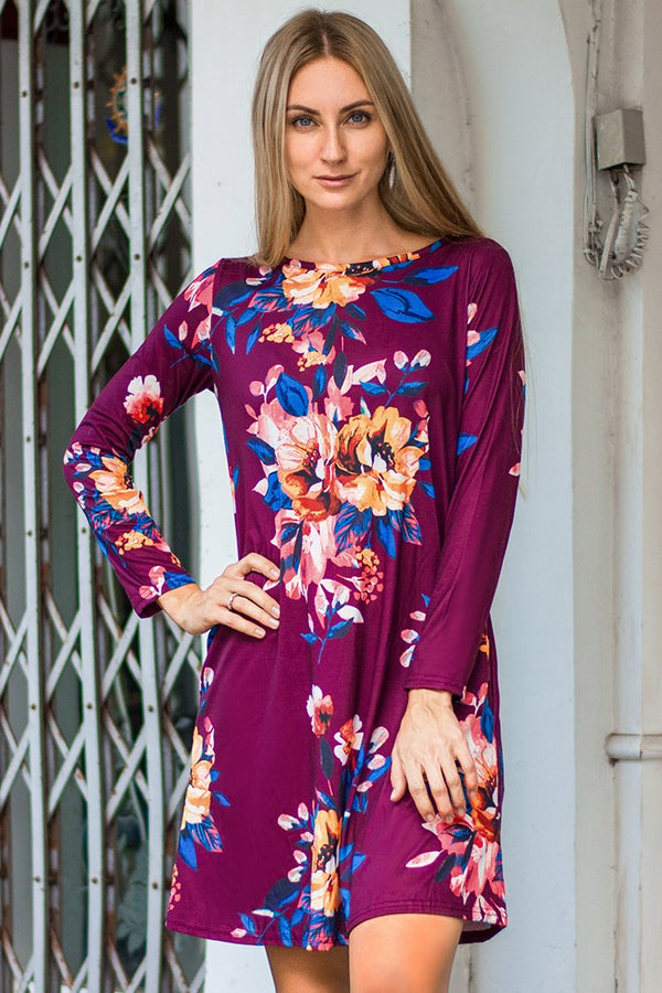 Purple Floral Long Sleeve Dress