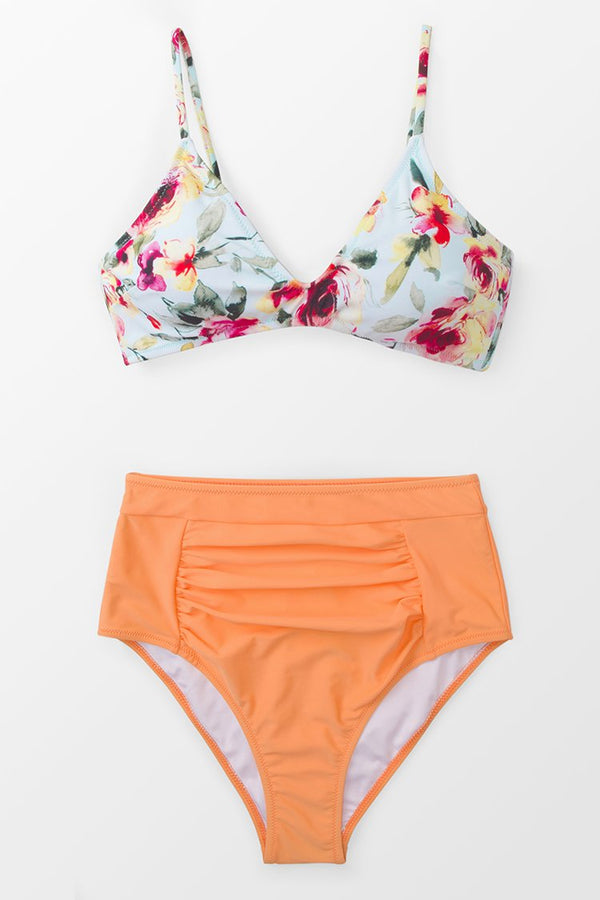 Floral Orange Crush High-waisted Bikini