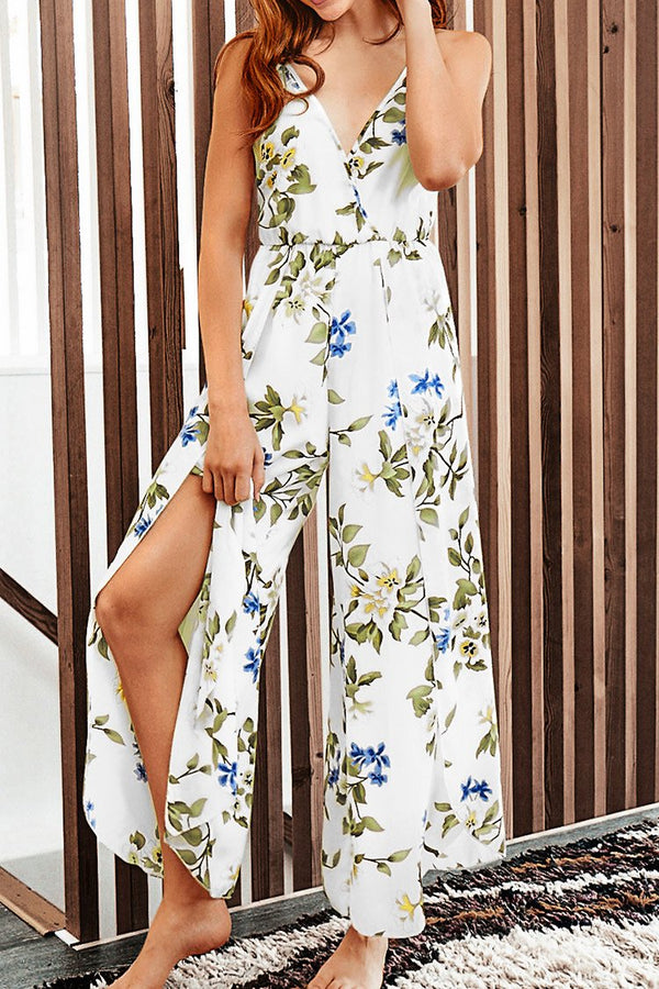 Floral Print Jumpsuit with Slits