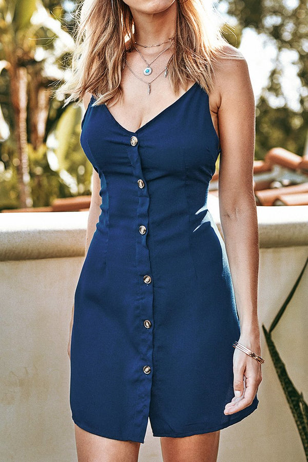 Blue Buttoned V-Neck Short Dress