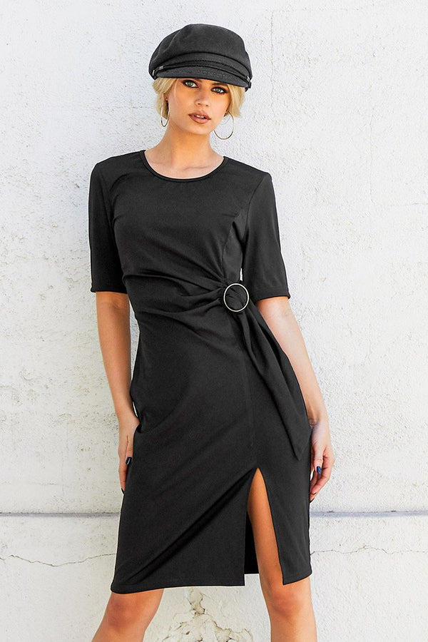 Black Side Slit O-Ring Midi Dress