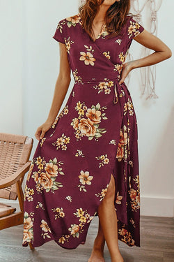 Wine Red Floral Print Pajamas Style Dress