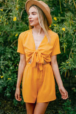 Yellow Knotted Romper