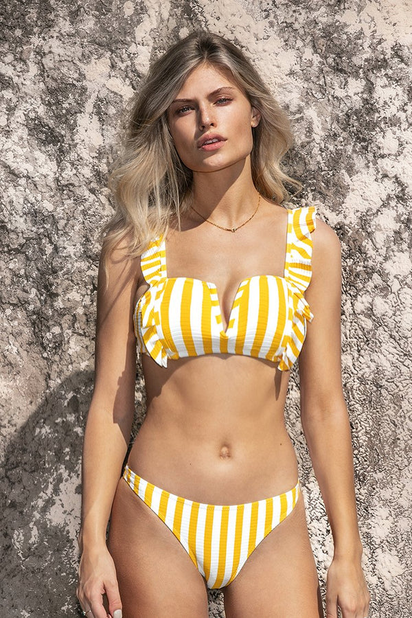 Yellow Striped Ruffled Deep V-neck Biniki