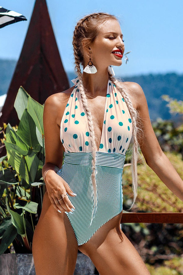 Retro Polka Dot and Stripe Halter One-Piece Swimsuit