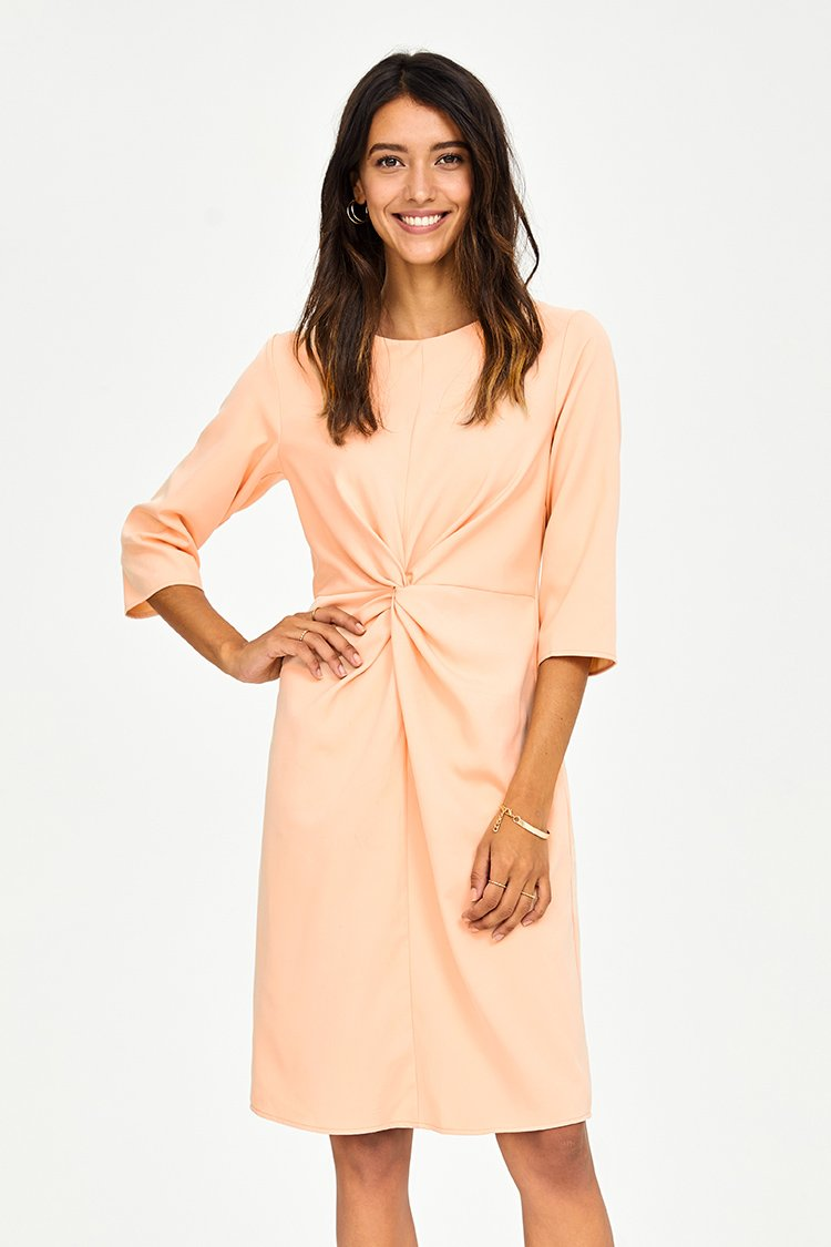 Cream Twist Front Midi Dress