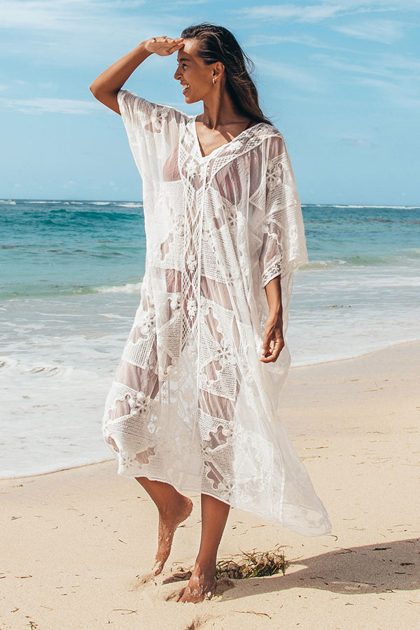 White V-Neck Crochet Cover Up