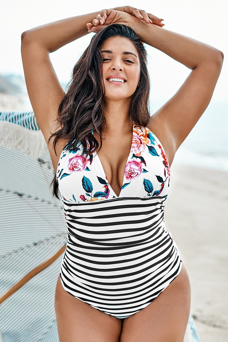 Bold Floral and Stripe Plus Size Halter One Piece Swimsuit