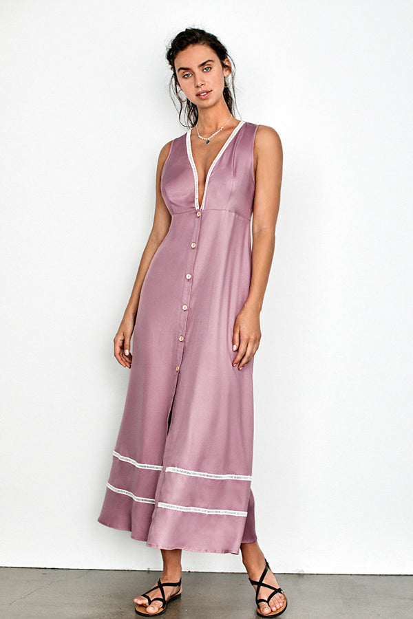 Pink Plunging Neckline Buttoned Dress