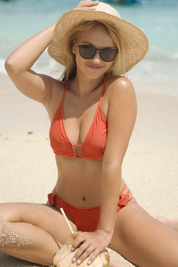 Vibrant Orange Braided Strap Bikini