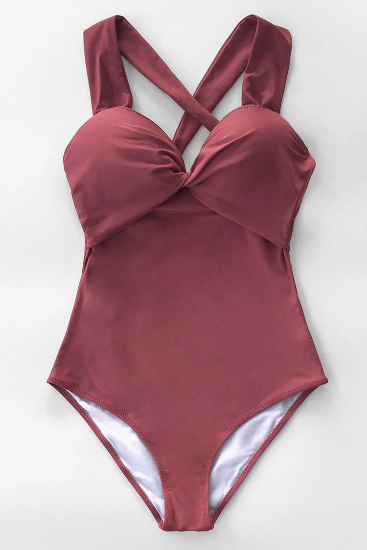 Solid Red Twist and Cross One-Piece Swimsuit