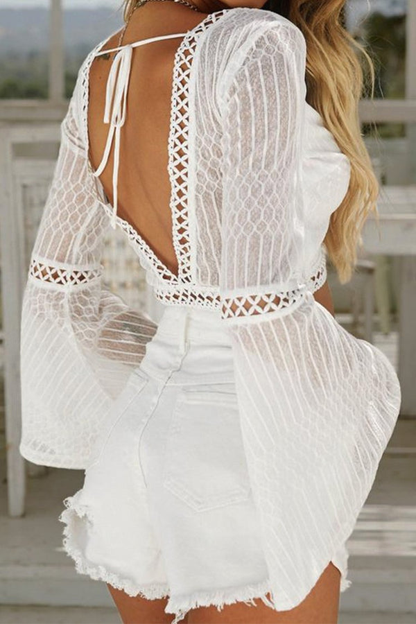 White Long Sleeve Backless Boho Crop Top