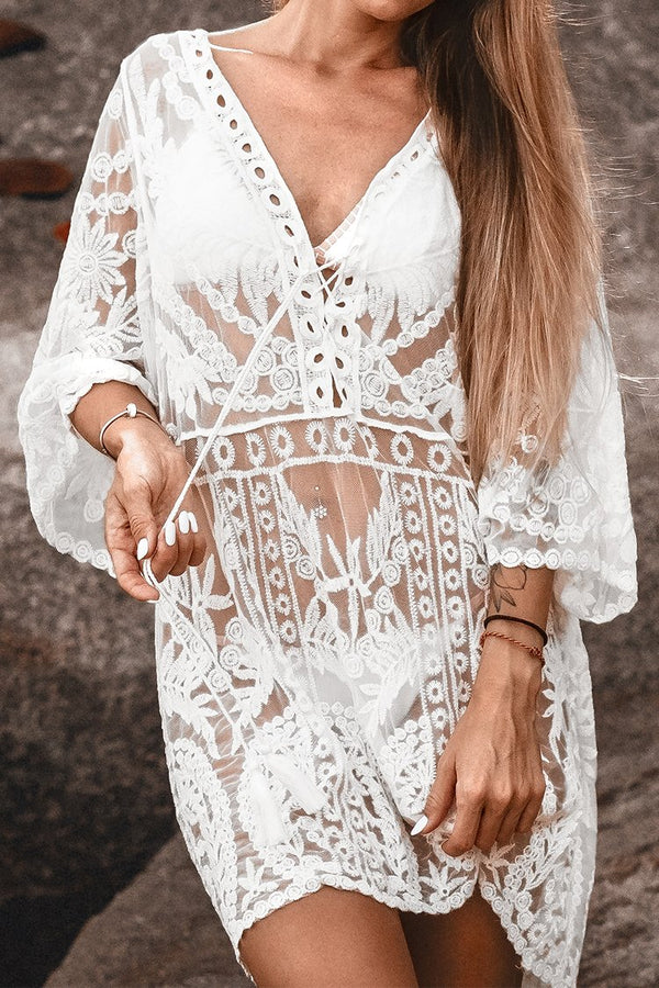 White Floral Lace Up Scallop Cover Up with Tassel