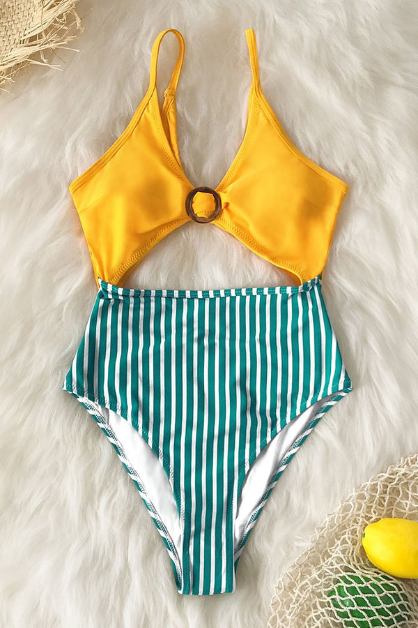 Yellow and Striped O-Ring One-Piece Swimsuit