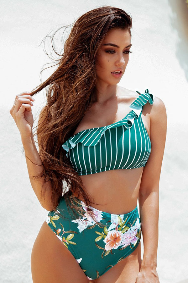 Stripe and Floral Ruffles One Shoulder HIgh-Waisted Bikini