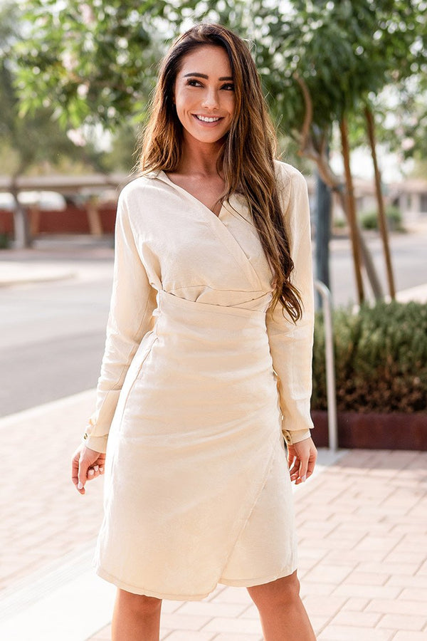 Cream Wrap V-neck Midi Dress