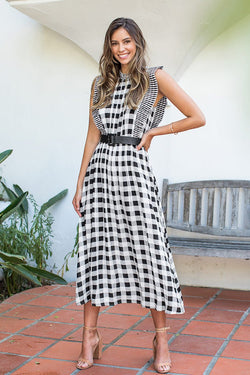 Gingham and Striped Ruffled Dress