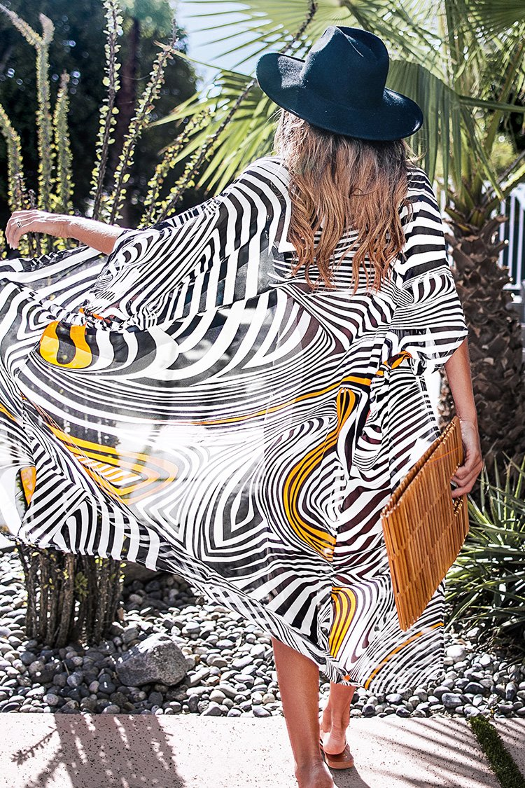 Black White and Yellow Zebra Print Cover Up