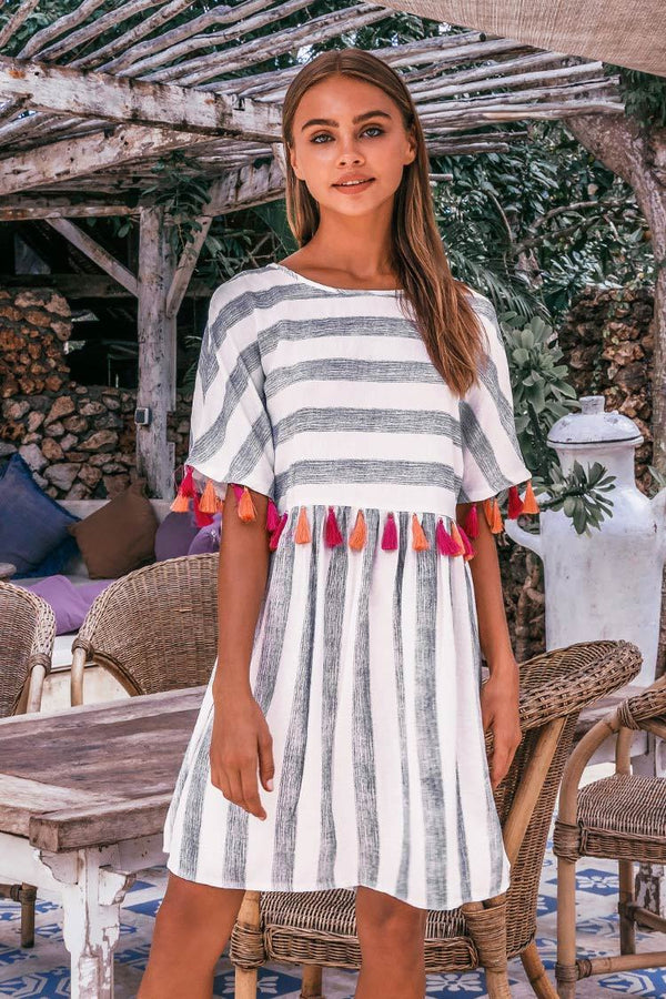 Stripe Tassel Midi Dress
