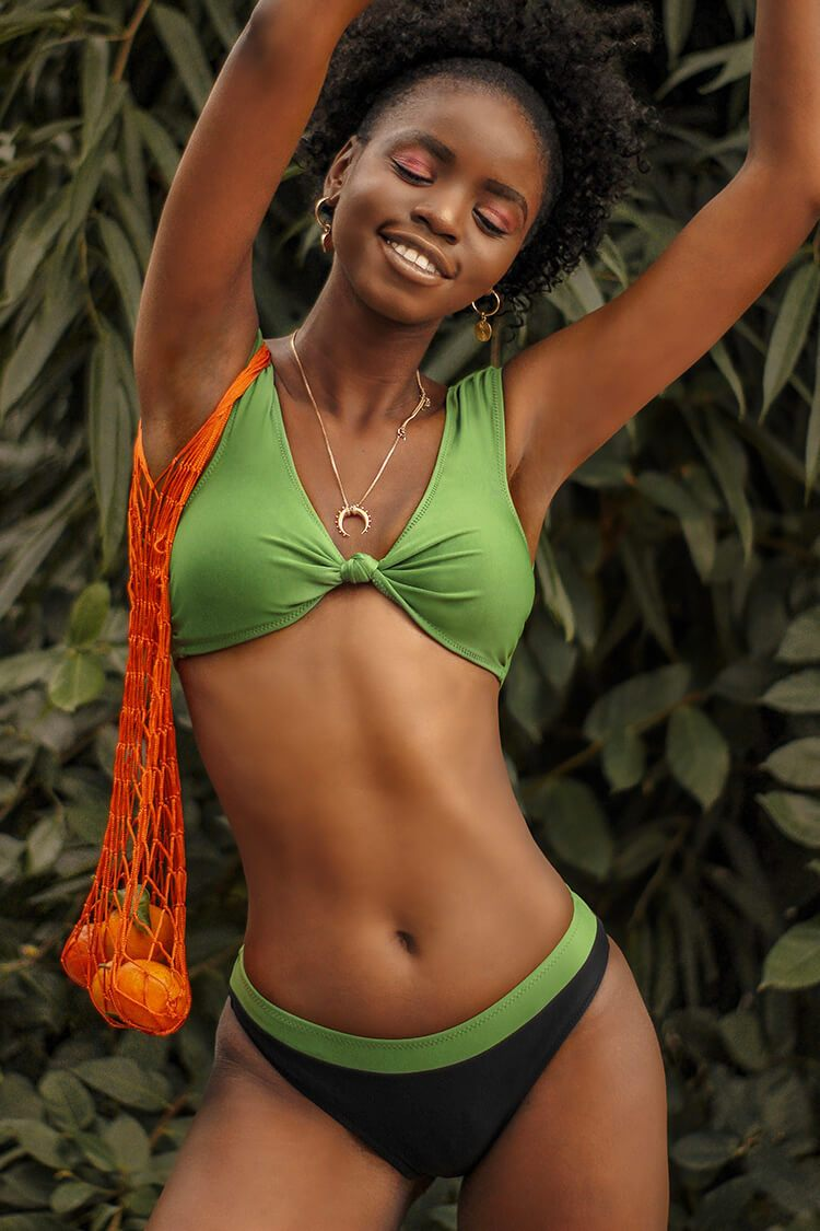 Green Knotted Cap Sleeve Bikini