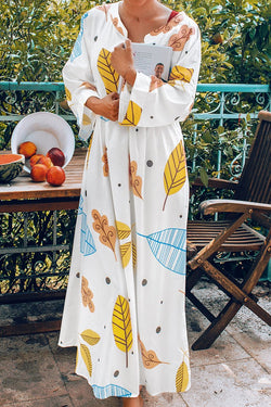 White Leaf Print Long Sleeve Maxi Dress